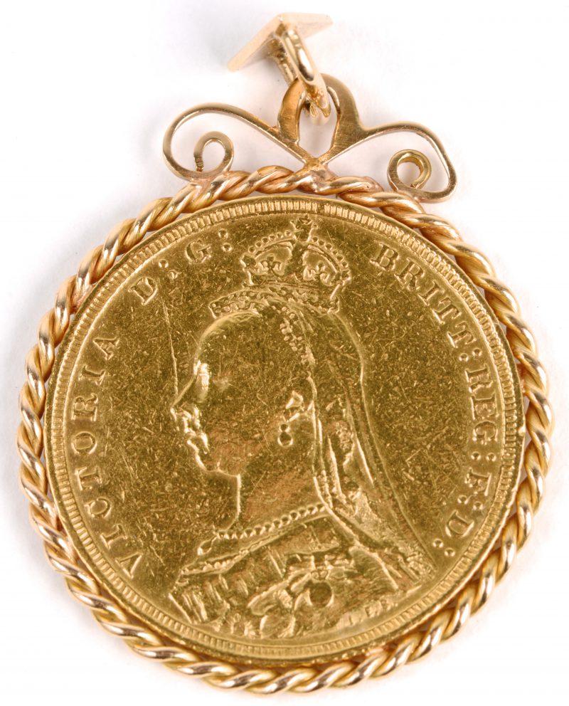 Een 18 karaats geel gouden hanger bezet een munt. Victoria 1891.