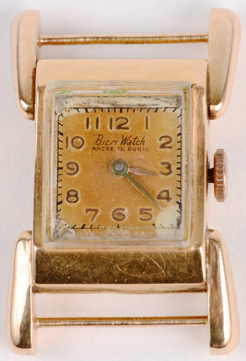 Een 18 karaats geel gouden horloge zonder armband.