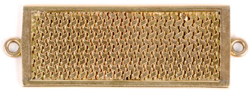 Een 18 karaats geel gouden geweven hanger.