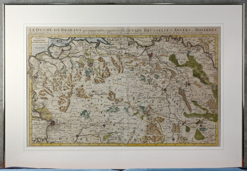 """""""La Duché de Brabant"""". Een oude ingekleurde kaart. Paris, 1696."""