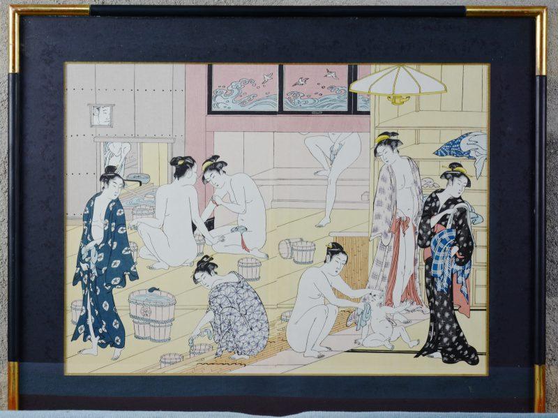 """""""Het badhuis"""". Een Japanse kleurenhoutsnede."""