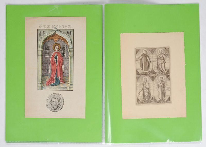 Een lot van tien XVII & XVIIIe eeuwse gravures met heiligen.