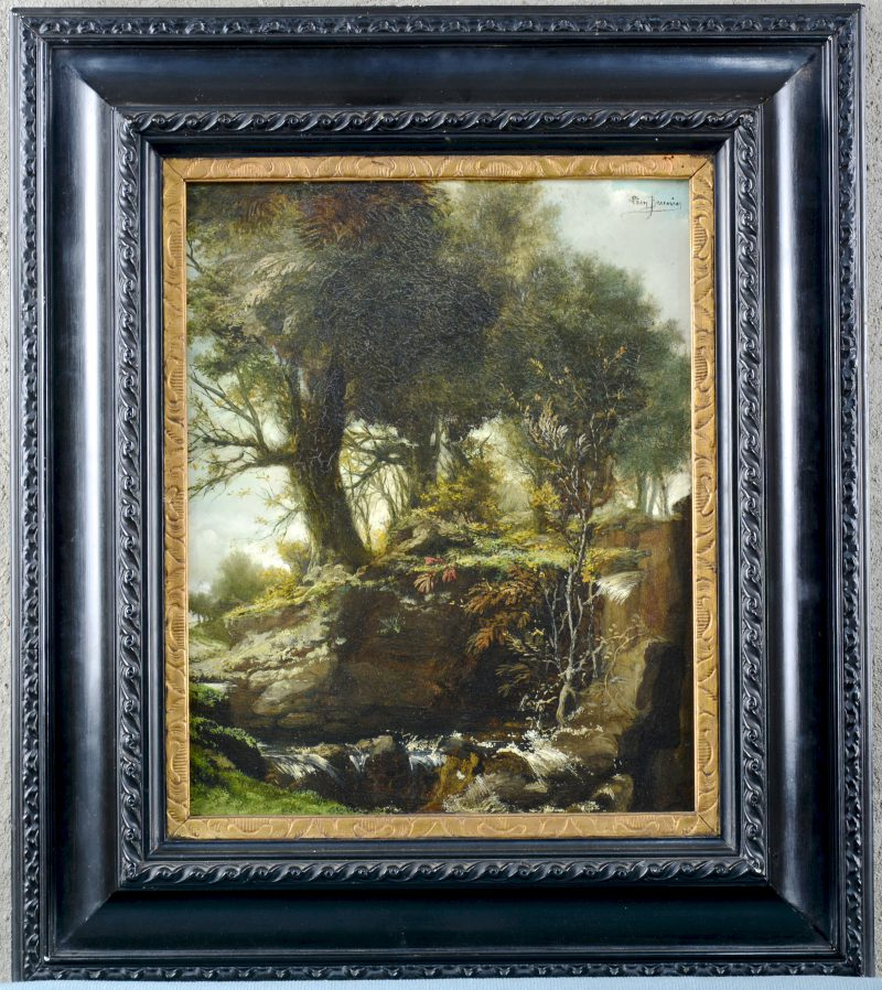 """""""La cascade"""". Olieverf op paneel. Gesigneerd en op de verso eveneens gedateerd 1913."""