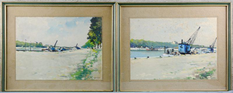 """""""Kanaalzichten"""". Paar aquarellen. Gesigneerd, de éne """"Rouen"""", de andere 1920."""