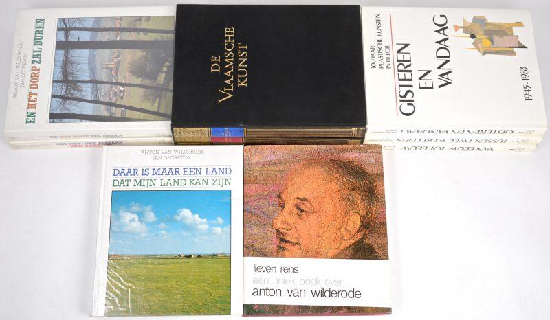 Een lot boeken over kunst en cultuur in België. O.a. 'De schoonheid van België' (A.J. Delen); Anton van Wildrode - Gedichten een drieluik (met dedicatie). En 100 jaar plastische kunsten in België.