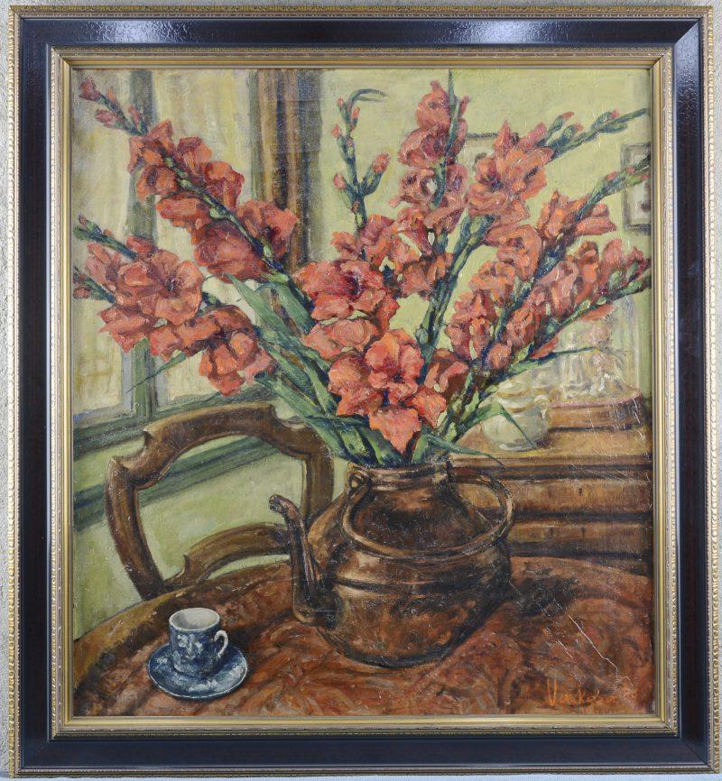 """""""Stilleven met gladiolen"""". Olieverf op doek. Gesigneerd en gedateerd 1949."""