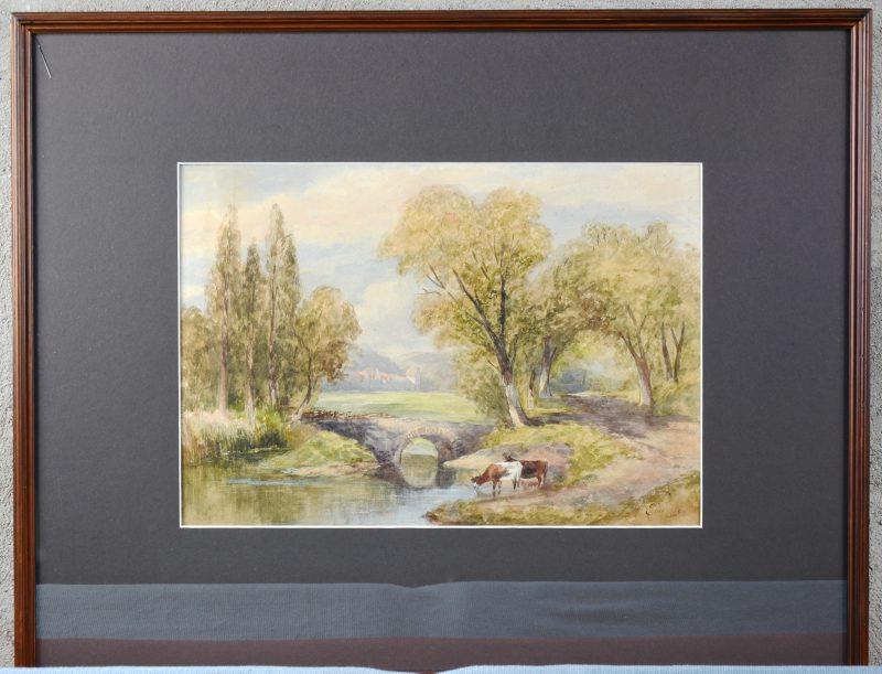 """""""Uitgestrekt landschap met vee"""". Aquarel op papier. Gesigneerd en gedateerd."""
