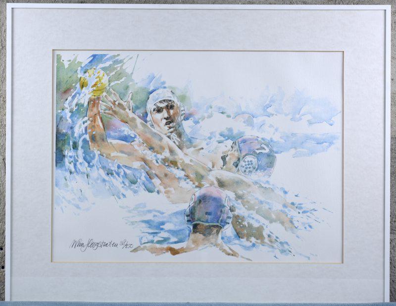 """""""Art in sport - Waterpolo"""". Een lithografie. Gesigneerd en genummerd 38/250 buiten de plaat."""