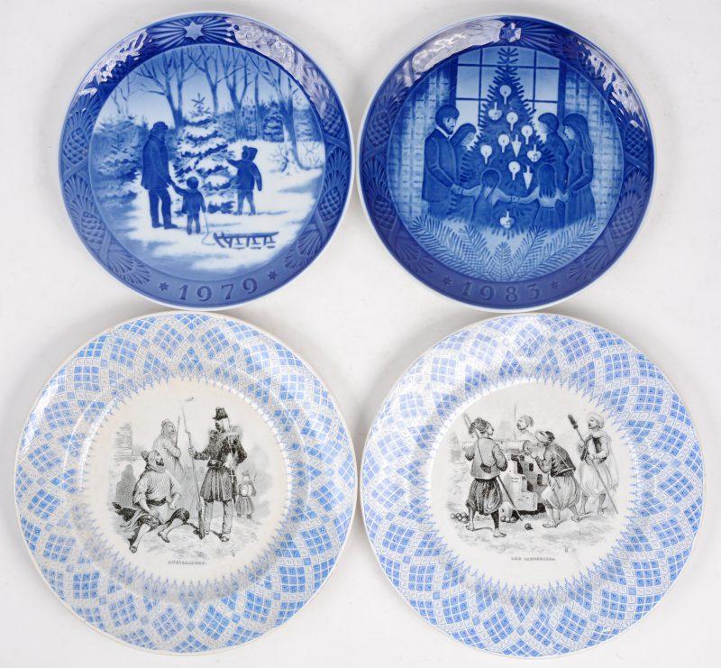 Vier diverse borden, waarvan twee Royal Copenhagen en twee Boch Keramis.