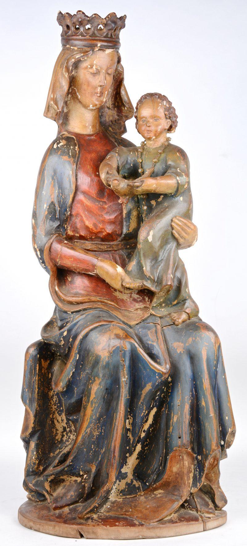 Madonna met kind. Polychroom hout. Mogelijk omstreeks 1700.