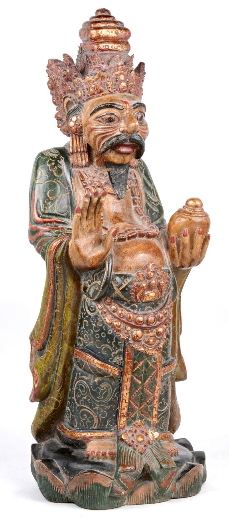 """""""Boeddhistische Zalige op Lotusbloem"""". Javaans polychroom beeld."""