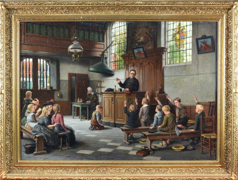 """""""De Godsdienstles of Waar is God"""". Olieverf op doek. Gesigneerd en Antwerpen."""