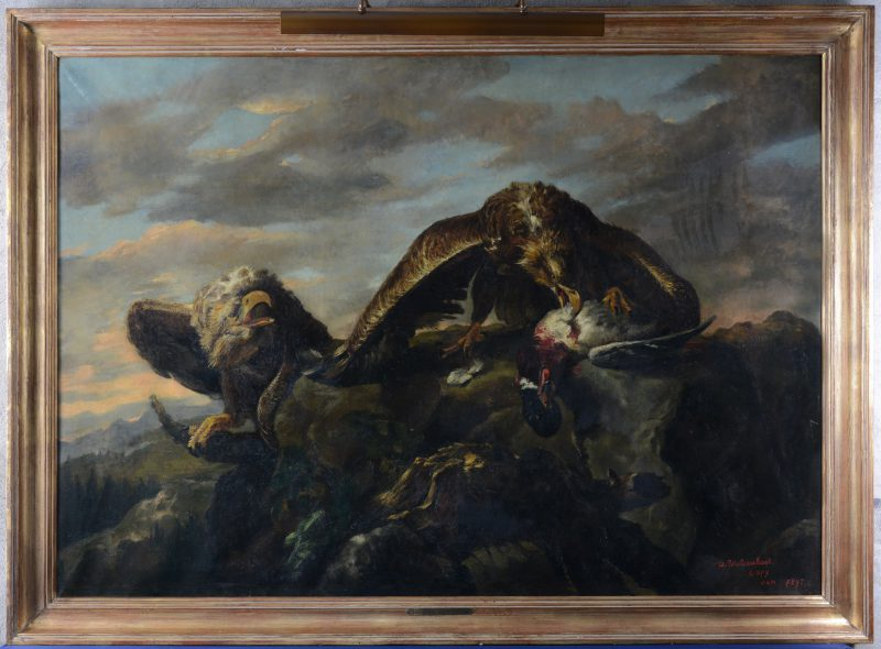 """Aanval der adelaars"". Olieverf op doek. Naar voorbeeld van Jan Feyt."