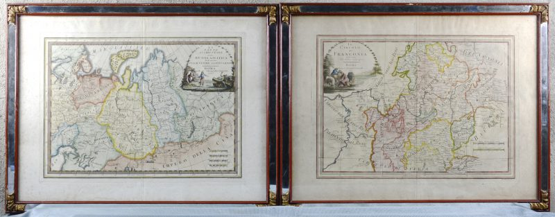 """""""Duitse Keizerrijk"""" & """"Russisch Keizerrijk"""". Twee oude ingekleurde kaarten. Rome, 1797."""