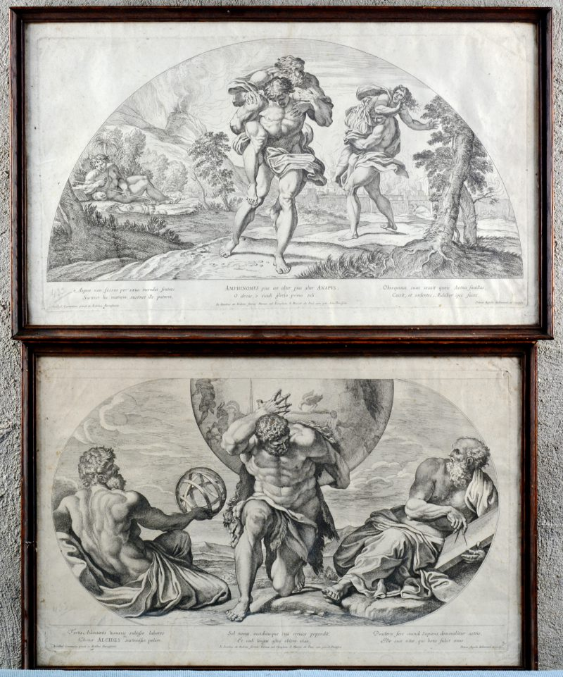Een paar gravures met mythologische voorstellingen.