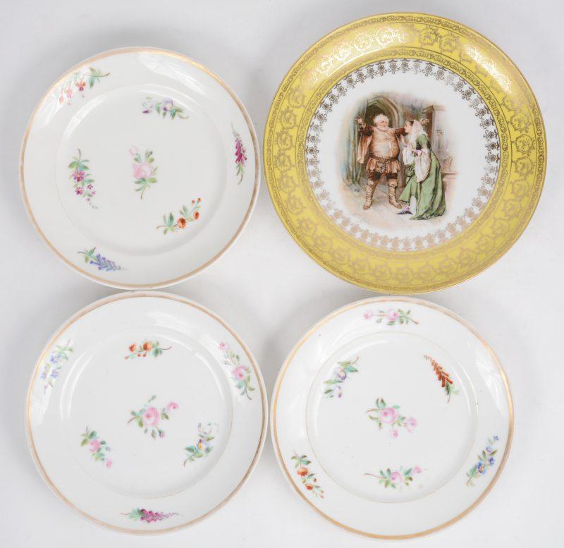 Een lot van drie borden van Brusses/Frans porselein en een Engels.