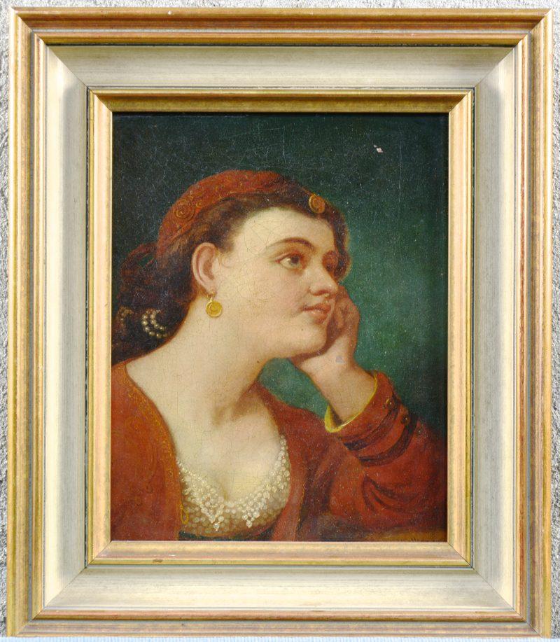 """""""Damesportret"""". Olieverf op doek. XIXe eeuw."""
