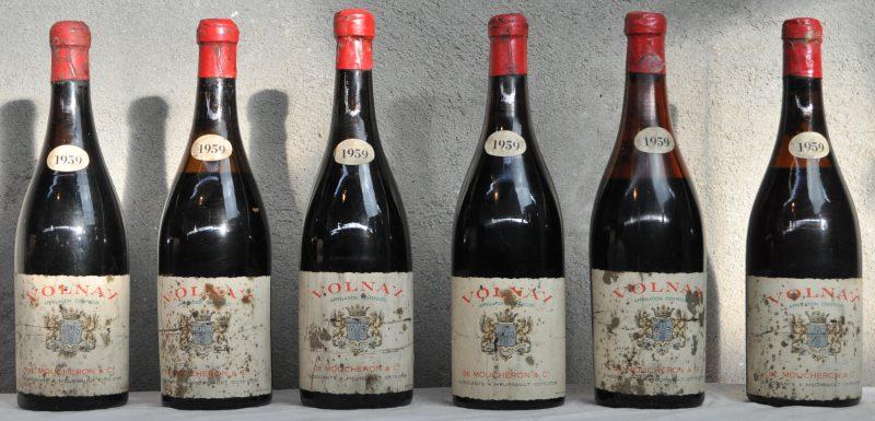 Volnay A.C.  De Moucheron & Cie, Meursault M.B.  1959  aantal: 6 bt 5 à 8 cm