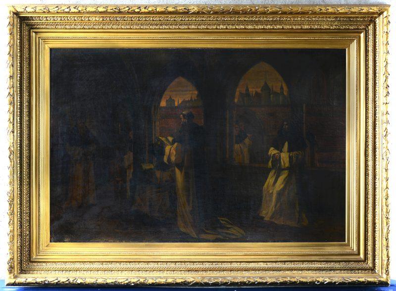 """""""Monikken in de kloostergang"""". Olieverf op doek. Lichte schade links onderaan. Omstreeks 1900."""