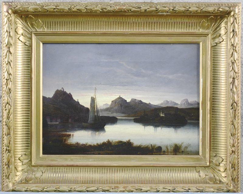 """""""Romantiserend rivierlandschap met zeilboot"""". Olieverf op doek. Gesigneerd."""