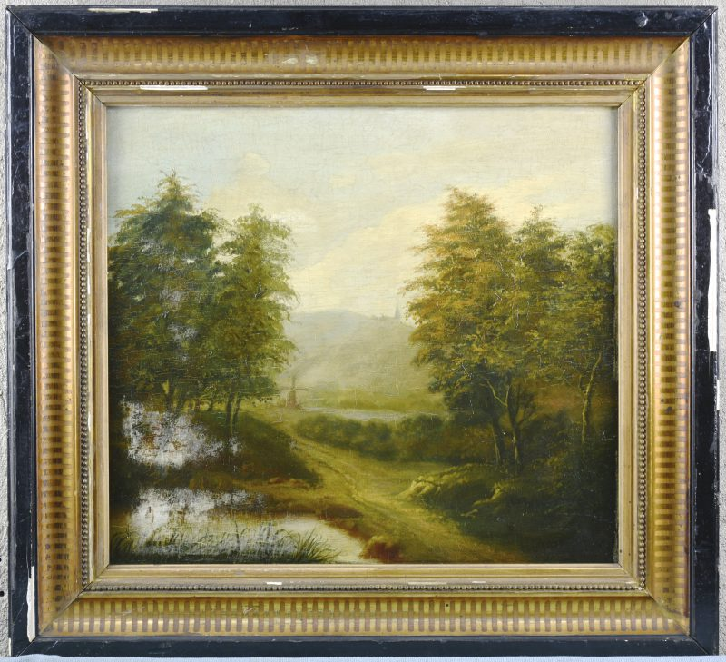 """""""Romantisch landschap met molen"""". Olieverf op paneel. Schade links onderaan. Omstreeks 1900."""