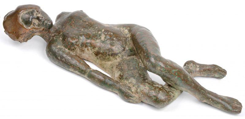 """""""Vrouwelijk naakt"""". Een bronzen beeld. Niet gesigneerd."""