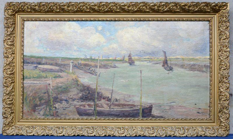 """""""Zicht op de Schelde nabij Vlissingen"""". Olieverf op doek. Gesigneerd. Kleine restauratie in de wolken."""