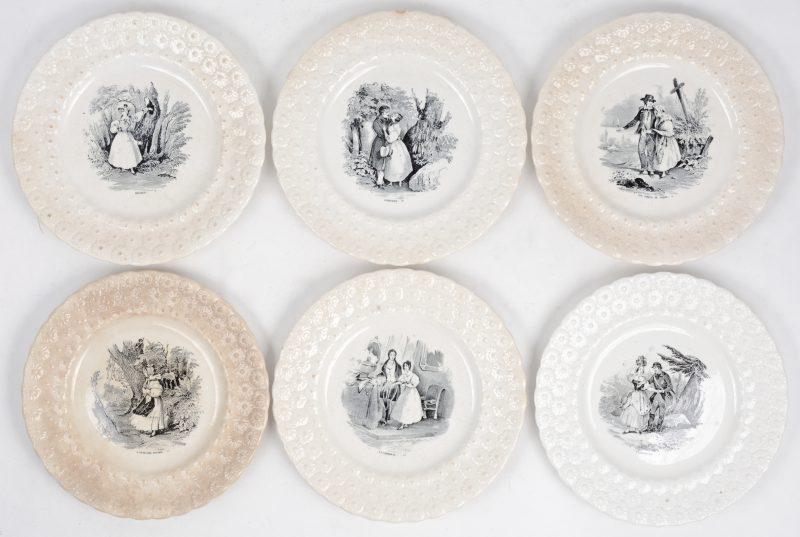 Serie van 6 spreukenbordjes. Gemerkt van Boch, XIXde eeuw
