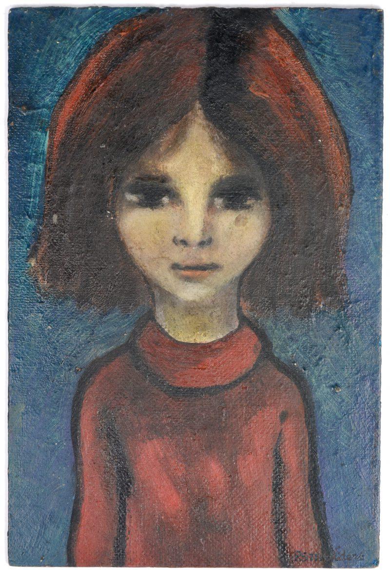 """Meisje in het rood"". Olieverf op schildersboard. Gesigneerd."
