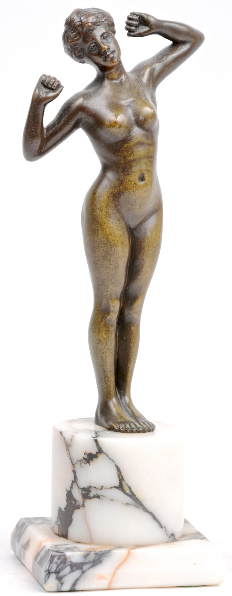 """""""Staand naakt."""" Bronzen beeldje op marmeren sokkel. Omstreeks 1900."""