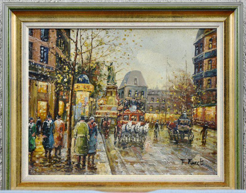 """""""Parijs straattafereel."""" Olieverf op paneel. Gesigneerd. Onlangs gerestaureerd. Laat XIXde eeuw."""