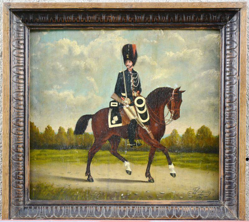 """Rijkswachtofficier te paard"". Olieverf op paneel. Gesigneerd en gedateerd 1887."