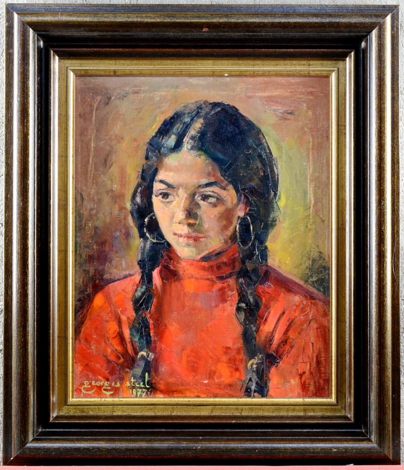 """Meisjesportret."" Olieverf op doek. Gesigneerd en gedateerd 1977."