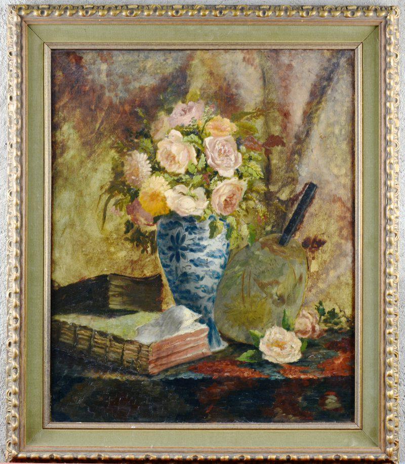 """""""Stilleven met boeken en rozen"""". Olieverf op doek. Herdoekt."""