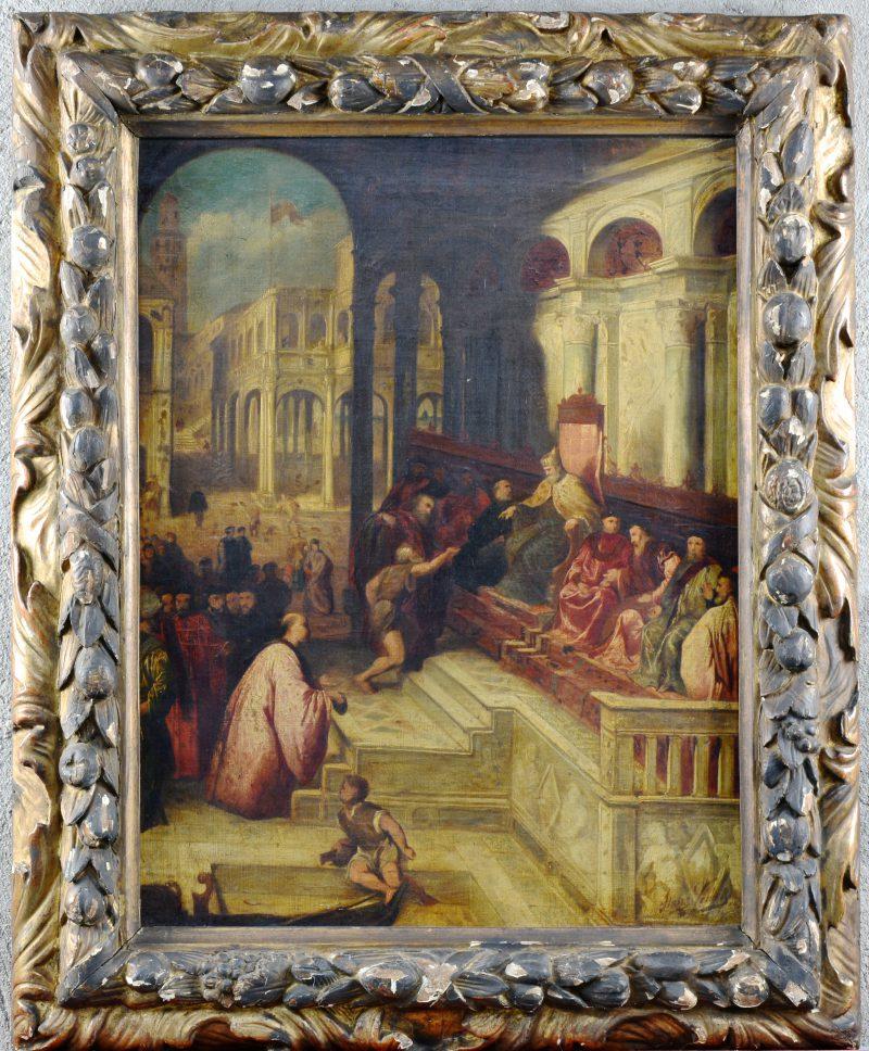 """""""De visser overhandigt de Doge de ring van Sint Marcus"""". Olieverf op doek. Gesigneerd. Naar Pâris Bordone."""