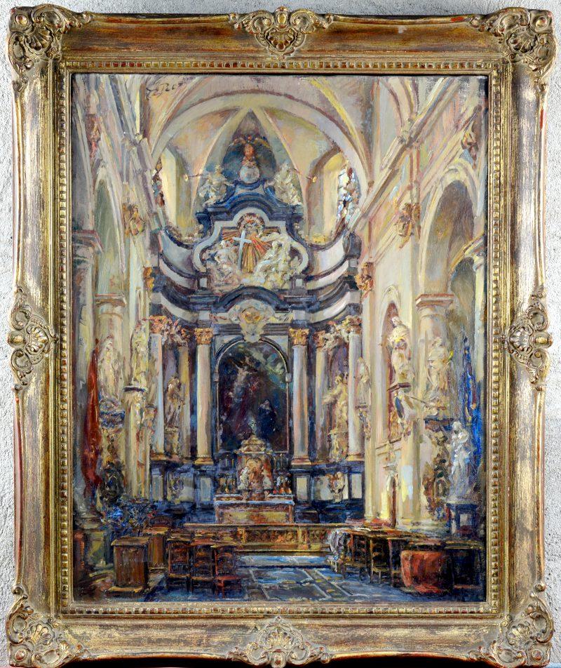 """""""Interieur van de Begijnhofkerk te Lier"""". Olieverf op doek.  Op de verso gesigneerd."""