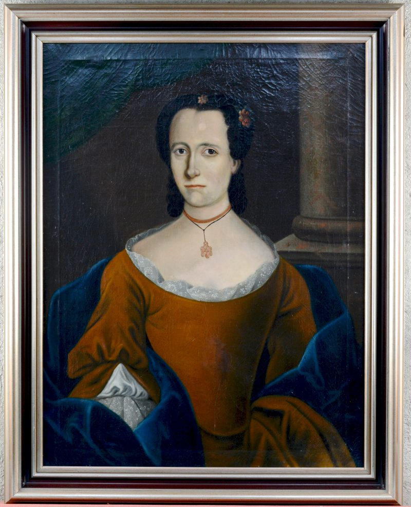 """""""Damesportret"""". Olieverf op doek. Spaanse School XVIIIde eeuw."""