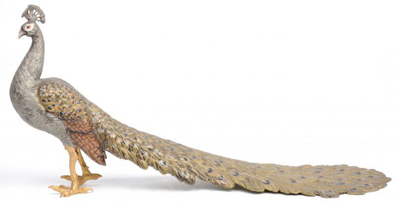 Een pauw van gepolychromeerd brons.
