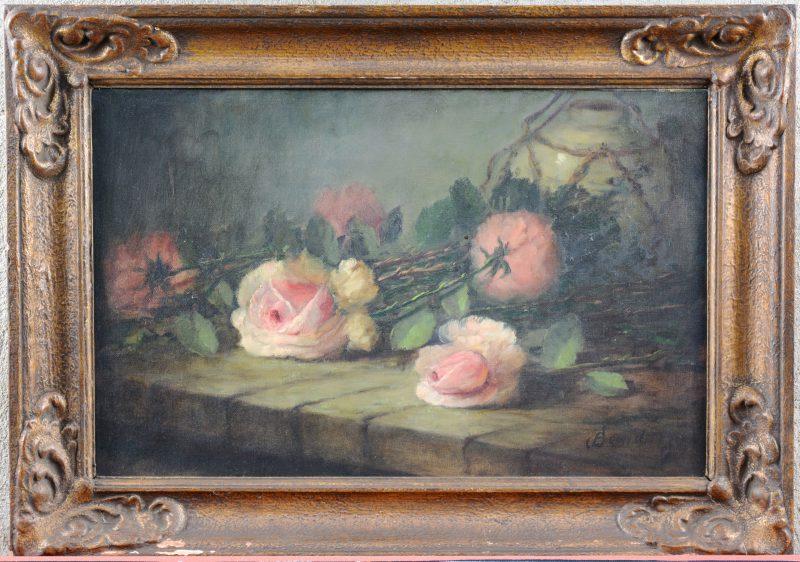 """""""Stilleven met rozen"""". Olieverf op doek. Gesigneerd."""