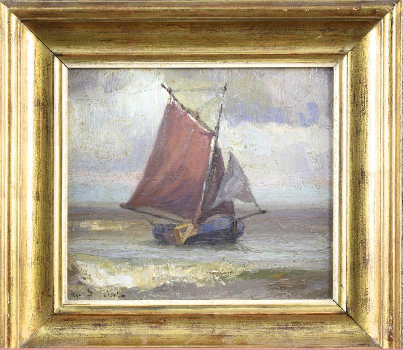 """Vissersboot aan de kust"" Olieverf op paneel. Onleesbaar gesigneerd."