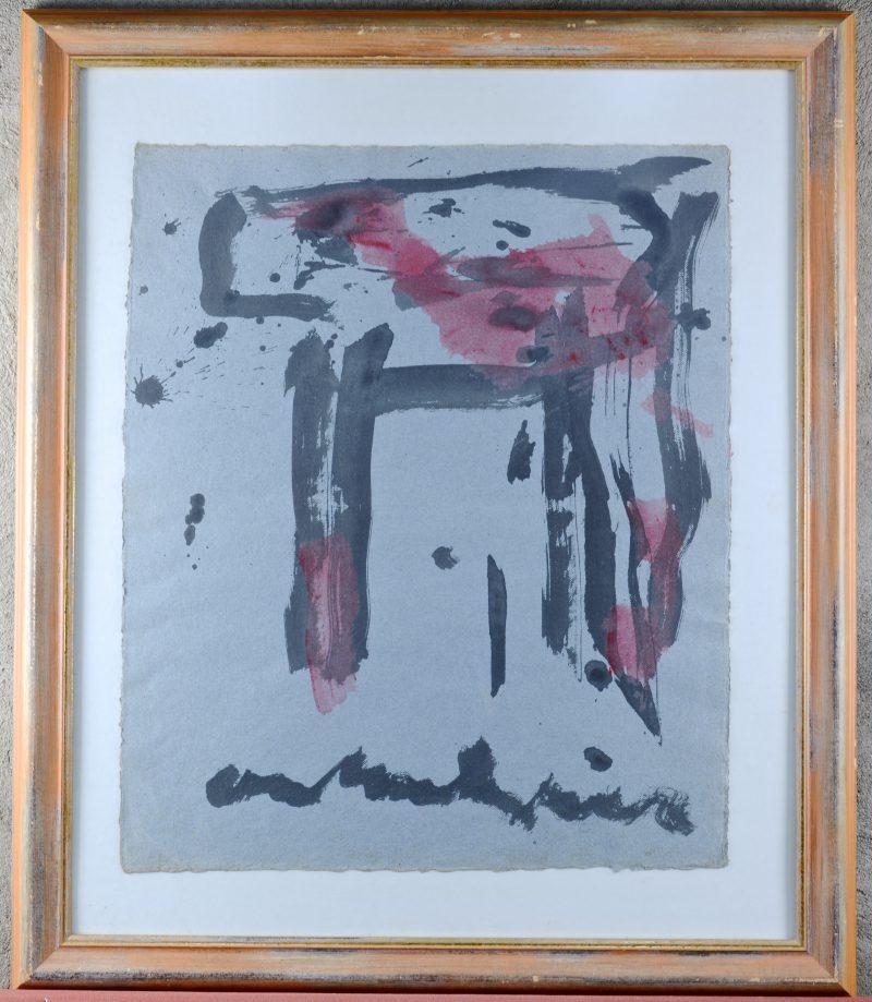 """""""Spetterkip"""". Aquarel op grijs papier. Gesigneerd 'Anton Heyboer'."""