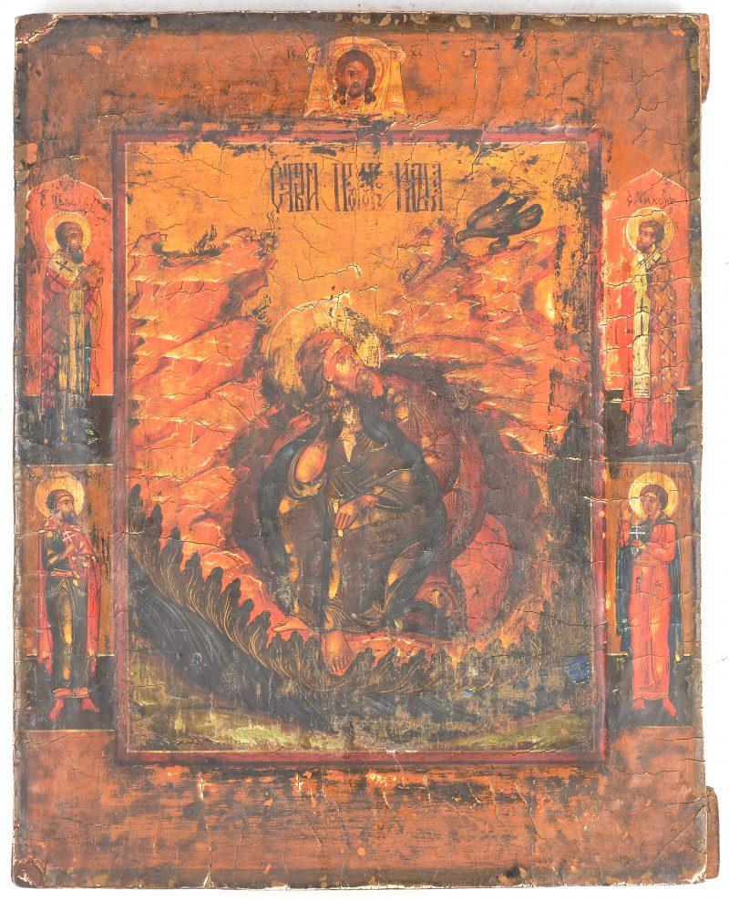 """""""Diverse Heiligen en de Heilige geest"""". Een Russisch icoon."""