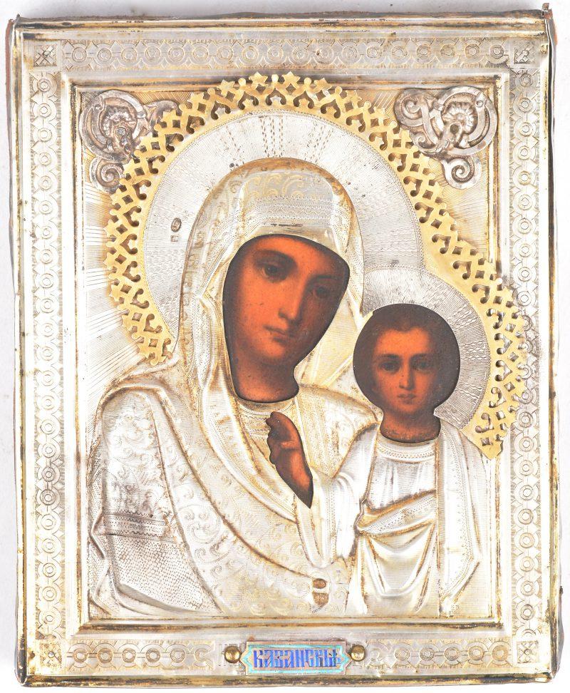 """""""Moeder Gods van Kazan"""". Een Russische icoon met zilveren riza. Poinçons zo goed als onleesbaar."""