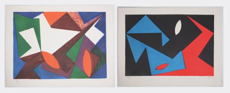 """""""Composities"""". Twee lithografieën. Beide gesigneerd, genummerd 60/99 en respectievelijk gedateerd '50 & '51."""