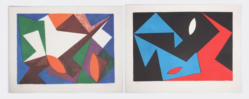 """""""Composities"""". Twee lithografieën. Beide gesigneerd, genummerd 57/99 en respectievelijk gedateerd '50 & '51."""