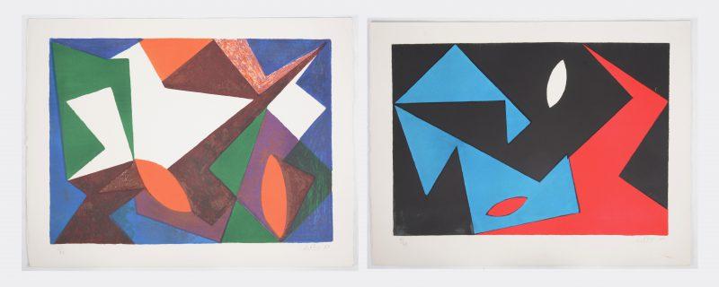 """""""Composities"""". Twee lithografieën. Beide gesigneerd, genummerd 61/99 en respectievelijk gedateerd '50 & '51."""