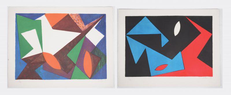 """""""Composities"""". Twee lithografieën. Beide gesigneerd, genummerd 64/99 en respectievelijk gedateerd '50 & '51."""