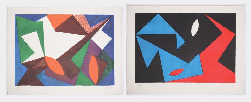 """""""Composities"""". Twee lithografieën. Beide gesigneerd, genummerd 67/99 en respectievelijk gedateerd '50 & '51."""