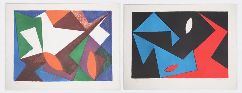 """""""Composities"""". Twee lithografieën. Beide gesigneerd, genummerd op 99 exemplaren en respectievelijk gedateerd '50 & '51."""