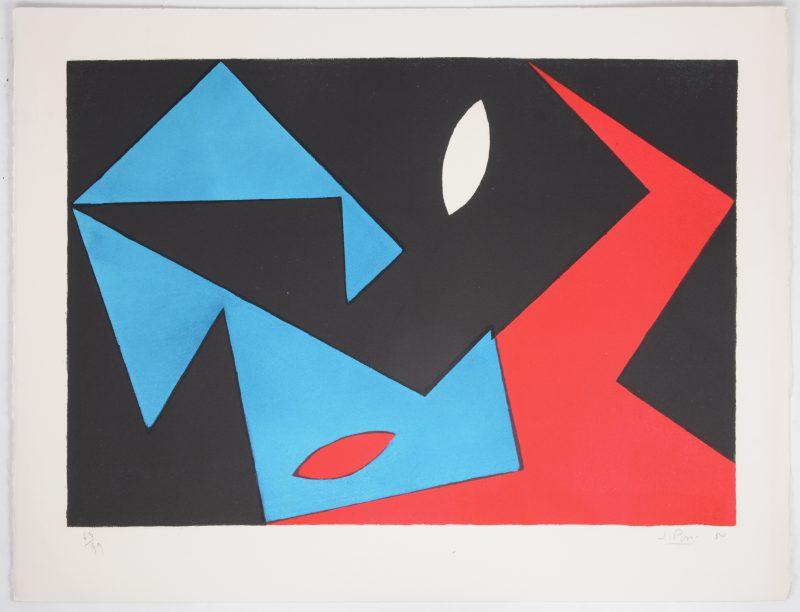 """""""Compositie"""". Een lithografie. Gesigneerd, genummerd op 63/99 en respectievelijk gedateerd '50."""